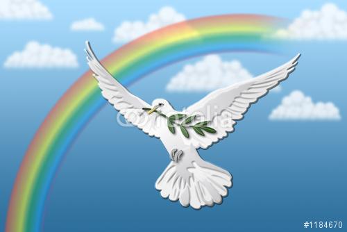 Friedentaube vor Regenbogen